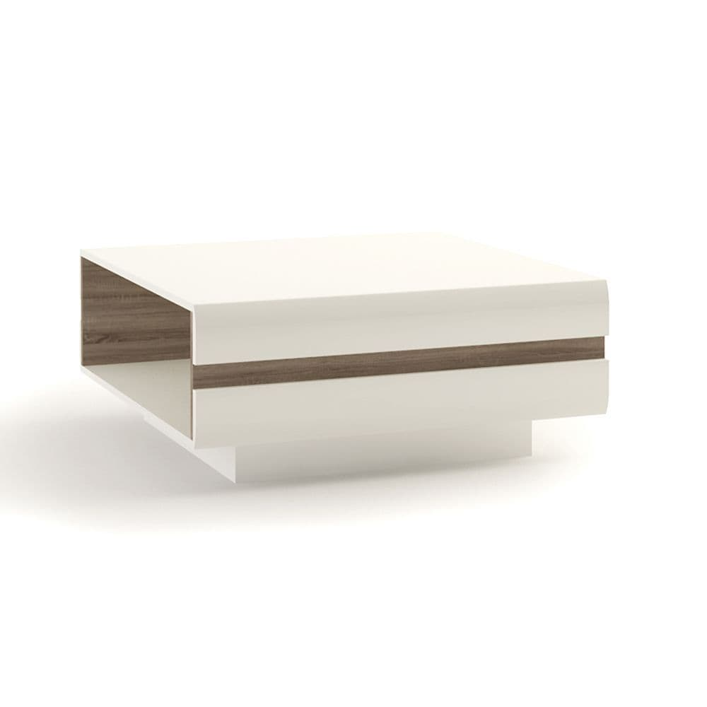 Brompton Large Designer Coffee Table in White with oak trim